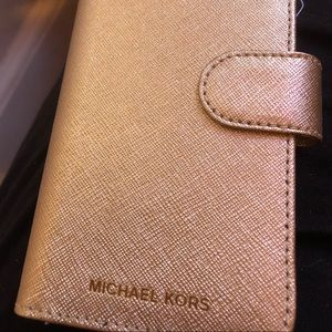 Michael Kors iPhone X wallet case gold tone